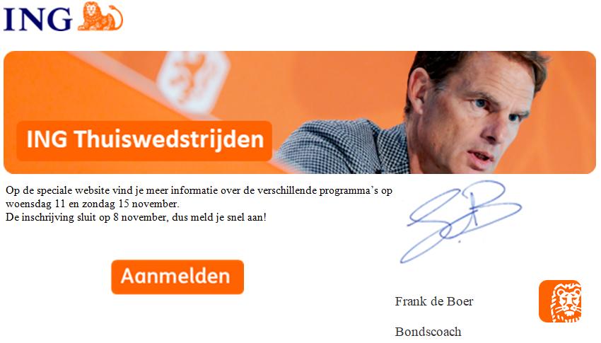Uitnodiging ING Thuiswedstrijd NL Elftal